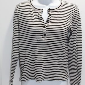 Madewell Tee Top B & W Stripes 5-Button Henley